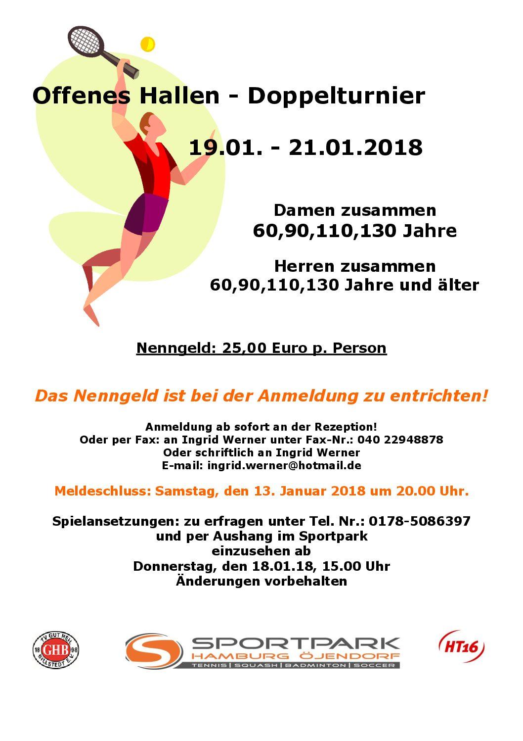 Offenes Hallen-Doppelturnier vom 19.01. bis21.01.2018